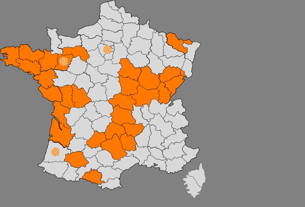 Carte de France RIP Orange - FTTH